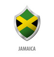 jamaica flag on metal shiny shield vector image