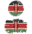 Kenyan round and square grunge flags vector image vector image