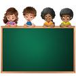 Kids leaning over the empty blackboard vector image vector image