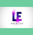 le l e purple letter logo design with liquid vector image vector image