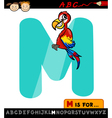 letter m with macaw cartoon vector image vector image