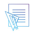 line block paper with triangle ruler and pencil vector image vector image