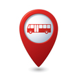 Map pointer with bus icon vector image vector image