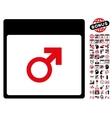 Mars Male Symbol Calendar Page Flat Icon vector image vector image