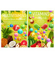 multivitamins and vitamin complex in fruits vector image vector image