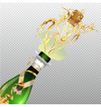 opened champagne with golden ribbon on transparent vector image