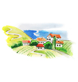 Painted watercolor vineyard landscape vector image vector image