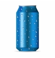 Realistic blue aluminum can with drops vector image