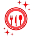restaurant icon with kitchen ware vector image
