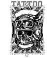 retro human pilot skull tattoo with ribbons design vector image