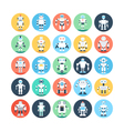 Robots Colored Icons 4 vector image vector image