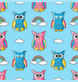 seamless pattern with cute owls and clouds vector image vector image