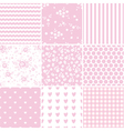 set abstract pink seamless patterns vector image vector image