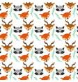 set cute animals head background design vector image vector image