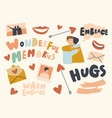 set icons embrace theme hugging friends smiling vector image vector image