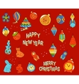 Set of Christmas toys in doodle style vector image vector image