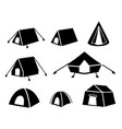 Set of tent icons in silhouette style