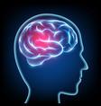 silhouette of a human head migraine disease brain vector image