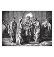 simeon prophesies when jesus is presented at the vector image vector image