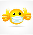 smile in medical mask showing thumb up vector image vector image