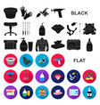 tattoo drawing on the body flat icons in set vector image vector image