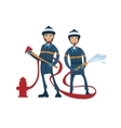 Two cartoon firefighters vector image vector image