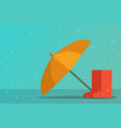 umbrella and boots in rainy season art vector image vector image