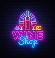 wine shop neon signboard wine bar neon vector image