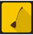 Witch broom icon flat style vector image vector image