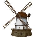 woodcut windmill vector image vector image