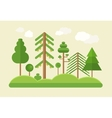 Flat design green trees summer landscape vector image