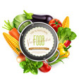 menu pattern with vegetables and saucepan vector image