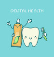 cute teeth and toothpaste vector image