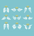 angel white feather wings with nimbus set vector image vector image