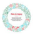 body pain and injury banner card circle vector image vector image