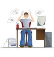 Boy can not work because of loud noise in the vector image vector image
