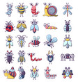 bug funny insect icons set cartoon style vector image