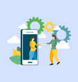 business concept with smartphone investment manage vector image