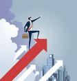 businessman standing on arrow sign leadership vector image vector image