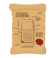 Cell phone with buttons on old scroll Paper vector image vector image