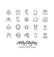christmas icons xmas and new year outline holiday vector image vector image