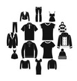 clothes icons set simple style vector image