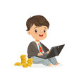 cute boy businessman working on his laptop and vector image vector image