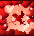 Cute cupid silhouette in frame of red heart shapes