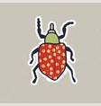 cute hand drawn bug sticker vector image