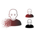 dissipated dot halftone bald man icon vector image