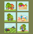 farming set of cards vector image vector image