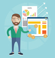 Flat design concept of businessman presenting his vector image vector image