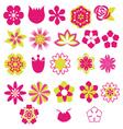 Flower Symbols icon set vector image vector image