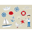 Funny nautical set vector image